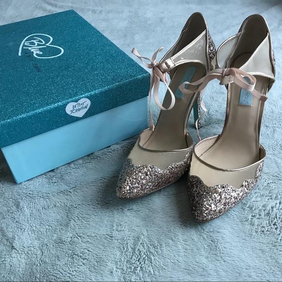 0e99cc9d4b7 Betsey Johnson Shoes - Betsey Johnson Stela Glitter Ankle Strap Heels